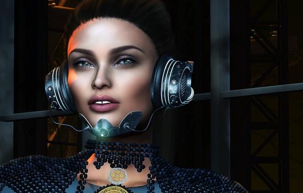 Photo wallpaper girl, background, headphones, face, look