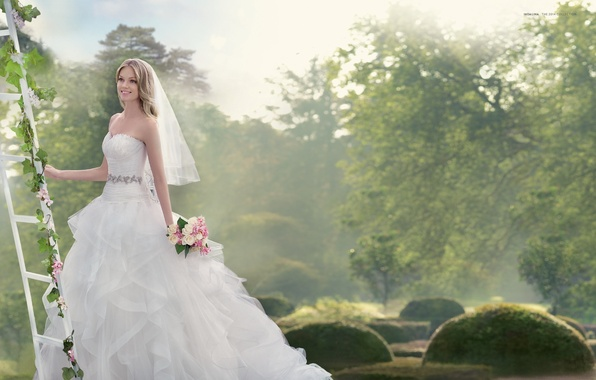 Picture smile, holiday, model, bouquet, dress, the bride, veil, wedding, Lindsay Ellingson