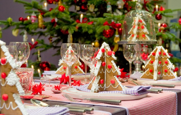 Picture tree, Table, decoration, elegant, sweet, Christmas, Christmas trees, baked