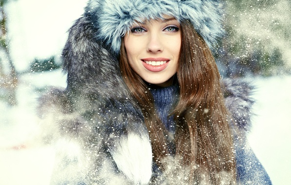 Picture winter, look, girl, snow, smile, hat, collar, fur, brown hair, green-eyed, long-haired