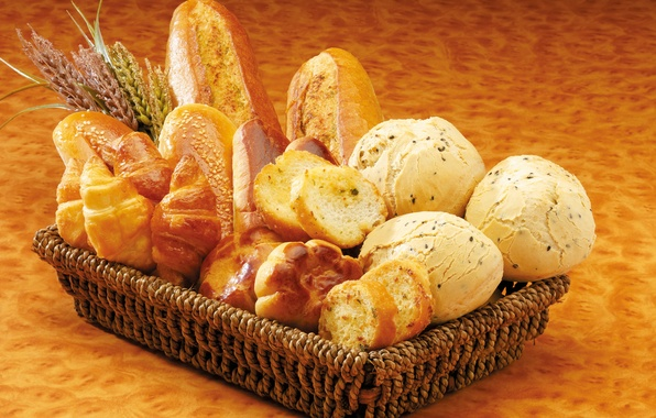 Picture basket, bread, muffin, cakes, buns, chunks, loaves
