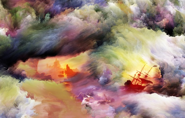 Picture storm, paint, smoke, ship, brightness