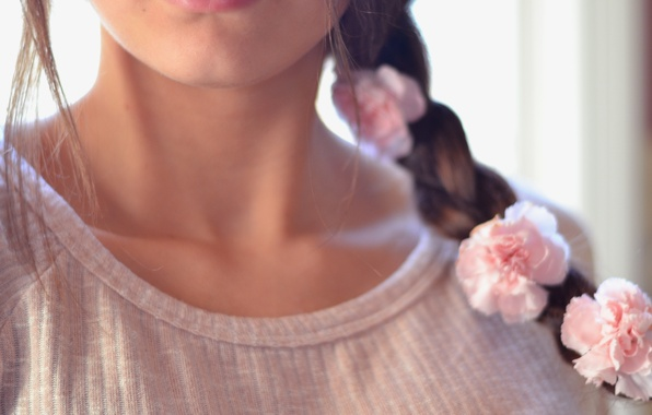 Picture girl, flowers, background, Wallpaper, pink, mood, rose, roses, brunette, hairstyle