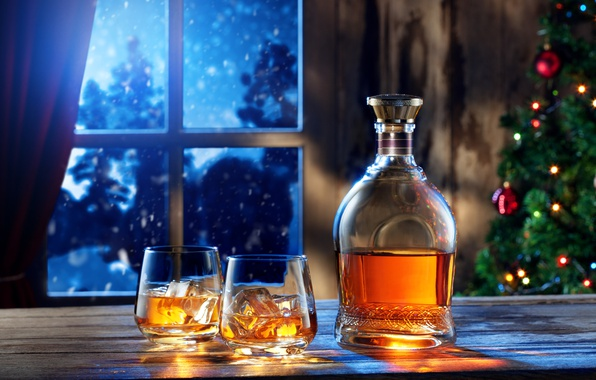 Picture Night, Bottle, New Year, Ice, Window, Two, Food, Whiskey, Glass