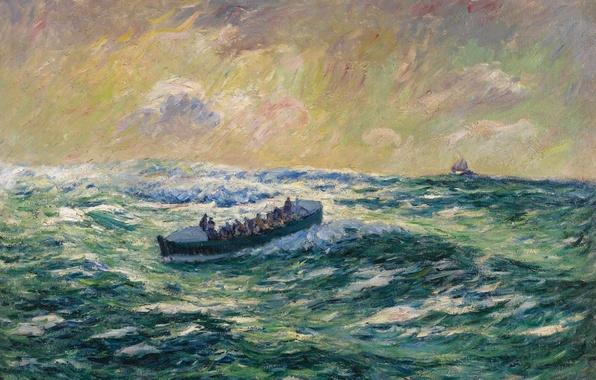 Picture sea, wave, storm, boat, picture, boat, seascape, Finistere, Henri Sea, Rescue Boat at Audierne