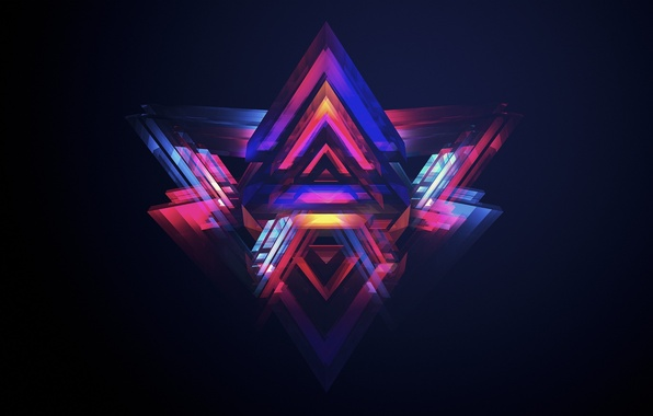 Picture abstraction, creative, triangles, abstraction, digital art