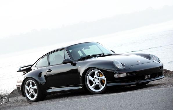 Picture black, turbo, Porsche, gravel, Porsche 911