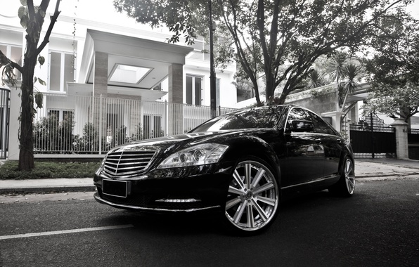 Picture Mercedes-Benz, Auto, The fence, Trees, House, Tuning, Machine, Villa, Drives