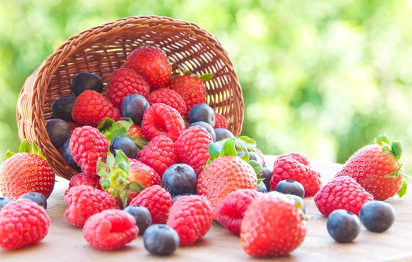 Picture berries, raspberry, blueberries, strawberry, basket, fresh, strawberry, blueberry, berries, raspberry