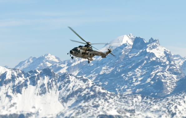 Picture the sky, snow, mountains, tops, helicopter