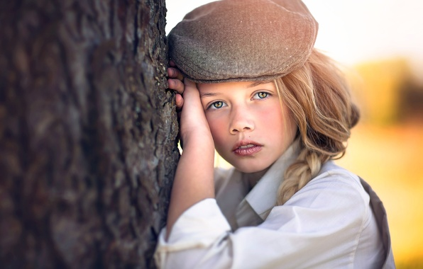 Picture girl, cap, bokeh, Julia Altork