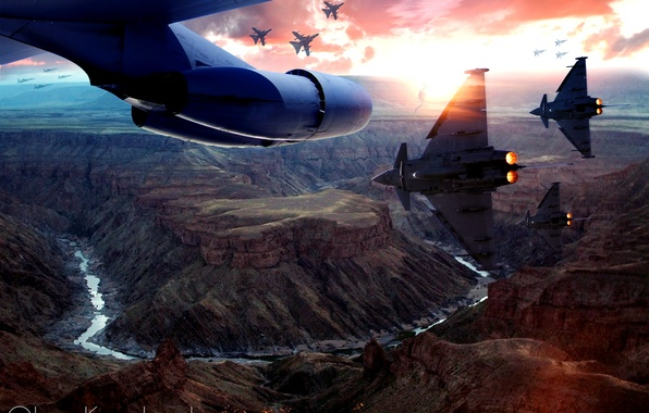 Picture the sky, sunset, the plane, war, army, aircraft, canyon, gorge, the plane, Aviation, aircraft, airplane, …