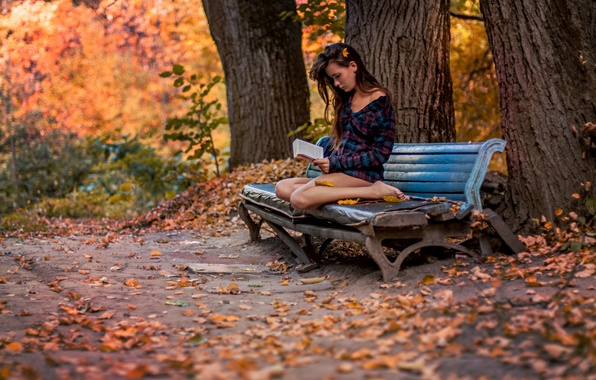 Picture autumn, girl, Park, book, bench