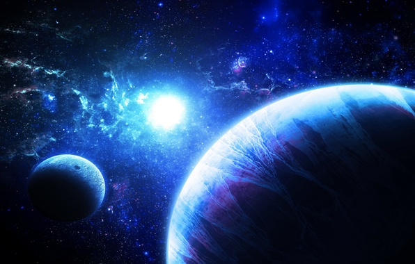 Picture fantasy, stars, planets, galaxies, Sci fi, work of art