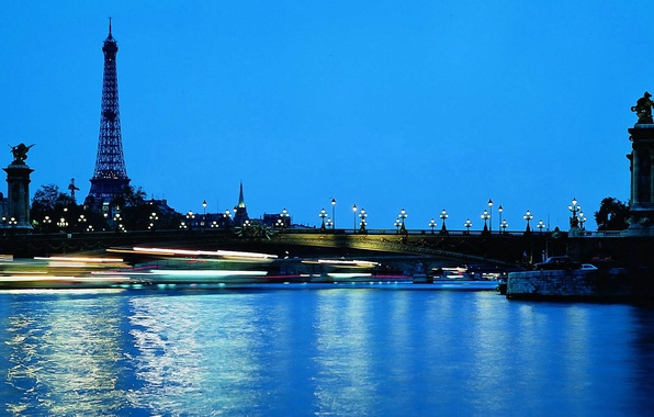 Picture water, bridge, lights, Eiffel tower, Paris, the evening, lights, France, night city, paris, france, blue …