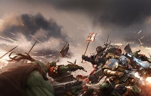 Picture war, battle, battle, Orc, art, space marine, Warhammer, Warhammer 40K, orks, WH40K