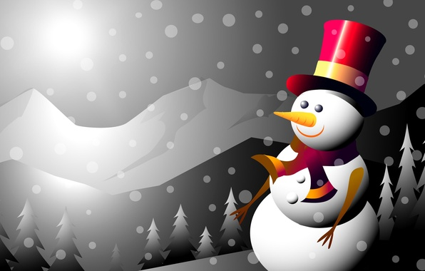 Picture winter, mountains, collage, new year, Christmas, vector, snowman, postcard