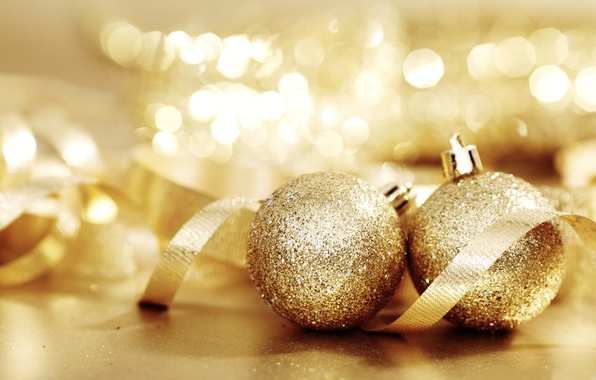 Picture balls, lights, gold, mood, holiday, toys, new year, tape, bokeh