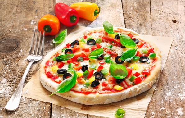 Picture cheese, plug, pizza, tomatoes, olives, the dough, peppers