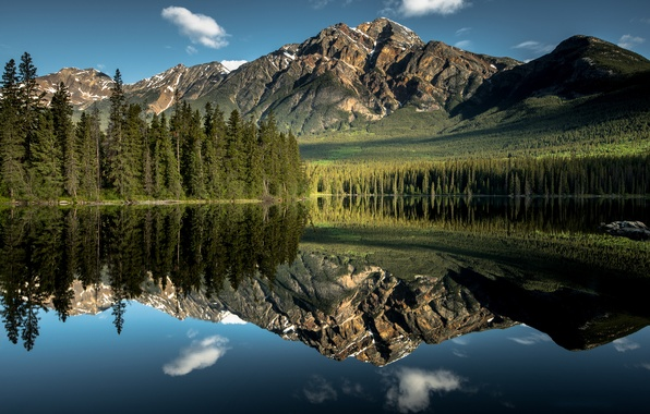 Picture forest, the sky, water, clouds, reflection, mountains, lake, Nature, mirror, Canada, Alberta, Jasper national Park
