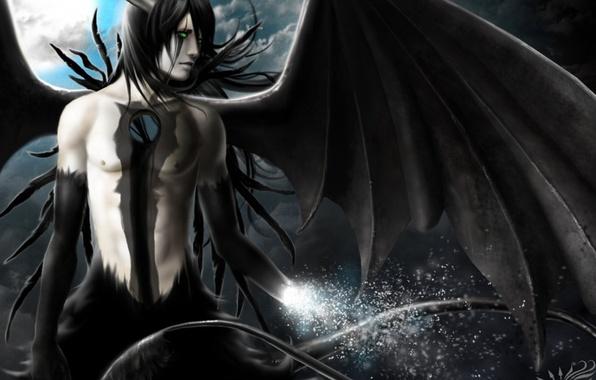 Picture the moon, wings, art, Anime, Bleach, Bleach, Ulquiora, Ulquiorra Schiffer
