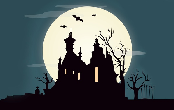 Picture trees, castle, vector, October, bat, horror, horror, vector, trees, bat, castle, creepy, creepy, full moon, …