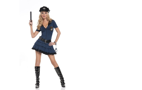 Picture Girl, White, Blonde, Police, Background, Feet, Form, Standing, Tiffany Toth