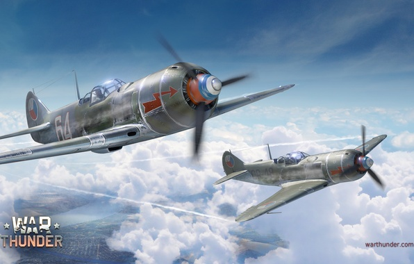 Picture the sky, clouds, fighter, Art, Shop, La-7, Soviet, piston, single-engine, War Thunder, Lavochkin, Air force …