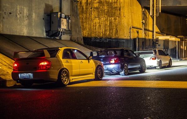 Picture light, city, lights, Subaru, WRX, light, red, STI, cars, blue, night, White, Hella flush, JDM