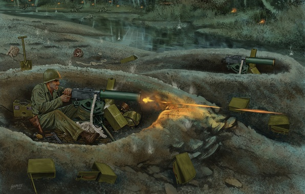 Picture plan, art, artist, soldiers, shooting, theatre, USA, battle, the battle, M2 Browning, WW2, between, allies, …