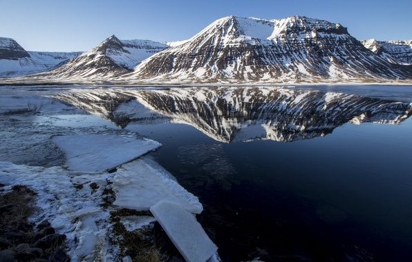 Picture cold, ice, snow, mountains, lake, reflection, shore, Sunny