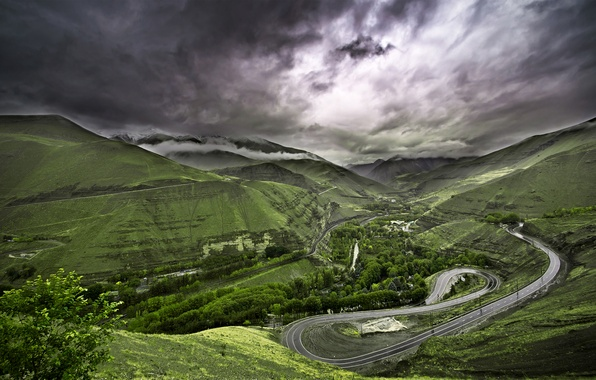 Picture road, greens, the sky, grass, clouds, trees, landscape, nature, grass, road, sky, trees, landscape, nature, …