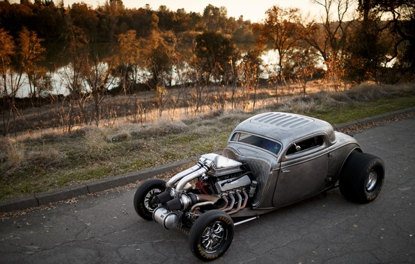 Picture Ford, Hot Rod, Coupe, Twin Turbo, 1934, Drag Car, Big Block, View from the top