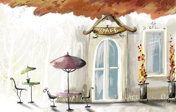 Picture autumn, paint, Cafe, cafe