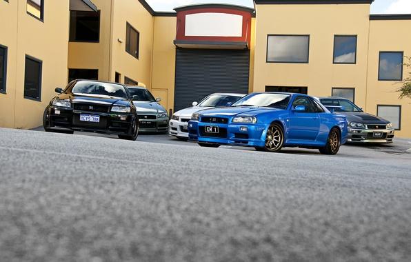 Picture white, blue, black, silver, silver, Nissan, white, black, skyline, Nissan, blue, gt-r, front, r34, gtr