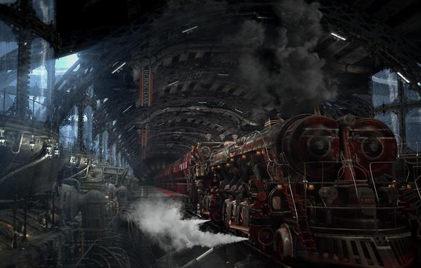 Picture smoke, station, Locomotive, mechanisms