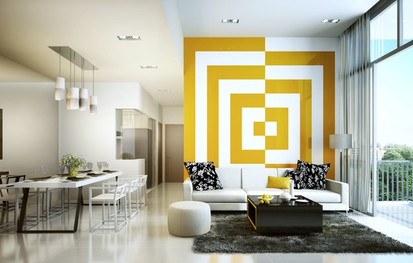 Picture white, yellow, living room, decoration