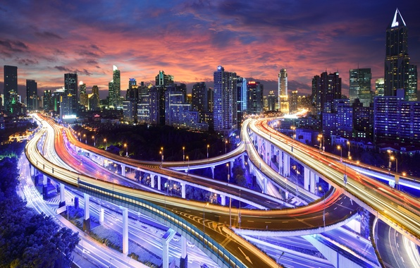 Picture light, night, the city, lights, China, building, road, Hong Kong, skyscrapers, excerpt, highway, China, Asia, …