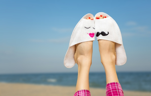 Picture sea, beach, summer, stay, feet, summer, beach, sun, Slippers, vacation, accessories