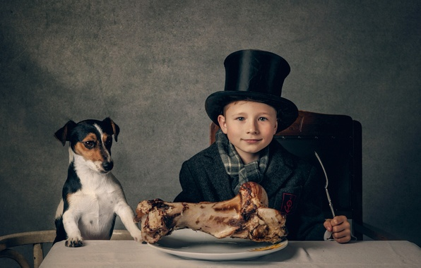 Picture table, bone, guy, dog, lunch, The dinner