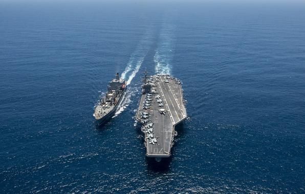 Picture sea, weapons, army, aircraft carrier USS Carl Vinson (CVN 70), replenishment oiler USNS Yukon (T-AO …