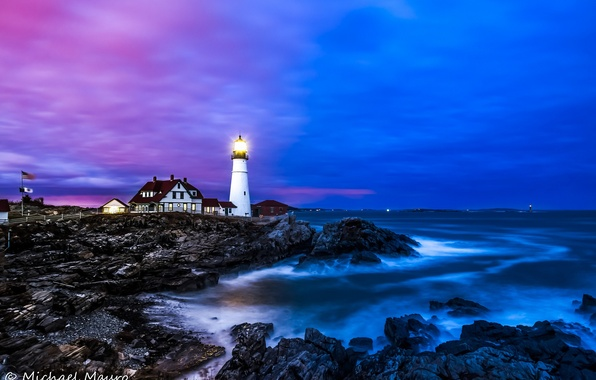 Picture sea, water, landscape, stones, the ocean, shore, lighthouse, home, Portland Headlight