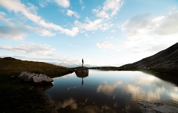 Picture clouds, mountains, lake, reflection, mirror, male, blue sky