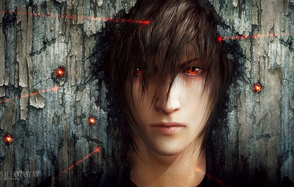 Picture face, art, laser, guy, red eyes, sight, final fantasy xv, tincek-marincek, night light sky