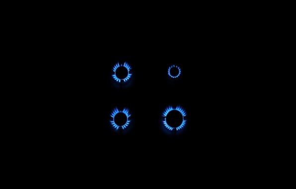 Picture BACKGROUND, FIRE, PLATE, BLACK, FLAME, BLUE, GAS, BURNERS