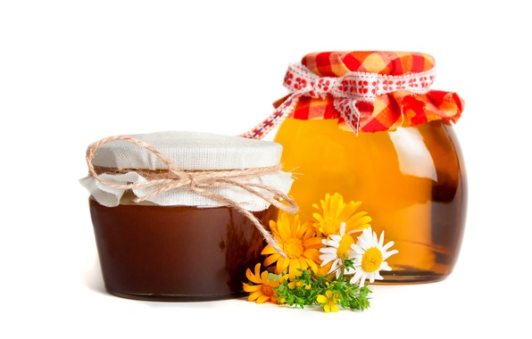 Picture flowers, chamomile, honey, jars, banks, field, sweet