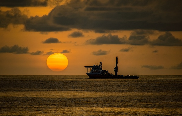 Picture sea, the sky, the sun, clouds, sunset, ship