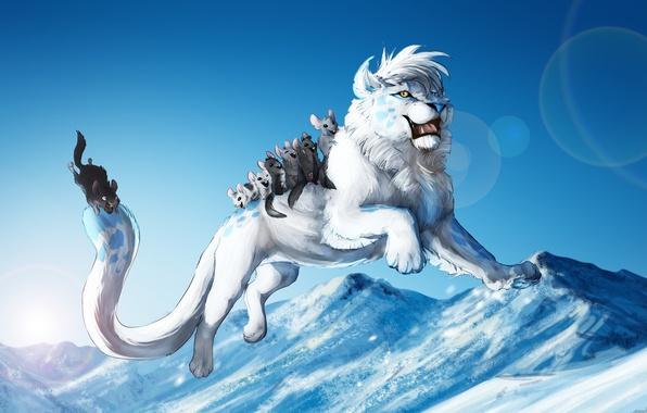 Picture cold, winter, animals, snow, game, jump, art, white lion, fun