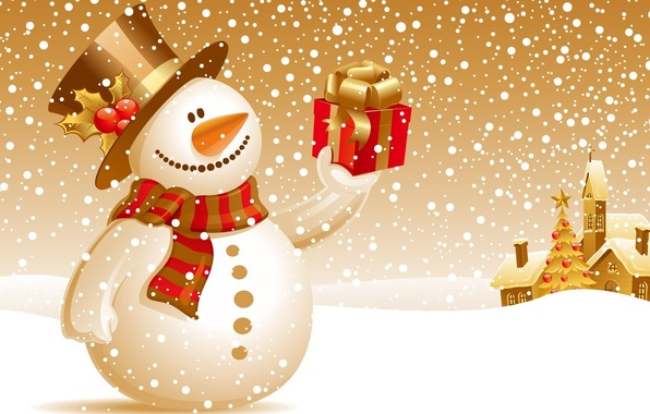 Picture winter, snow, gift, new year, snowman, christmas