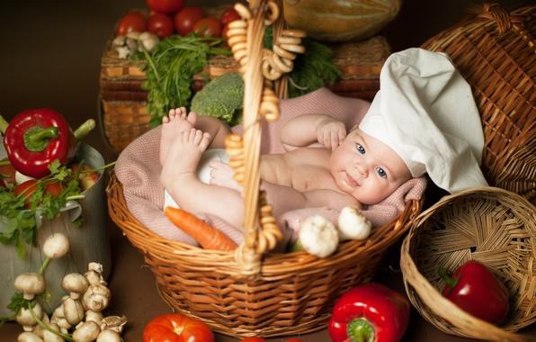 Picture children, mushrooms, baby, lies, vegetables, child, bagels, basket, Anna Levankova, scullion